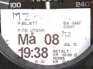 50 kroner voor de eerste paar uur en dan 10 voor de rest van de dag.